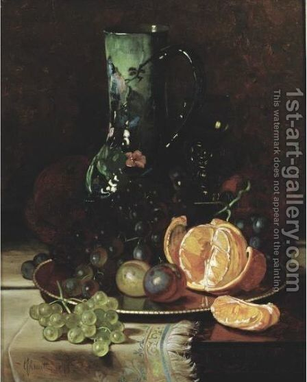 Still Life With Fruit And Jug by Edward Chalmers Leavitt - Reproduction Oil Painting