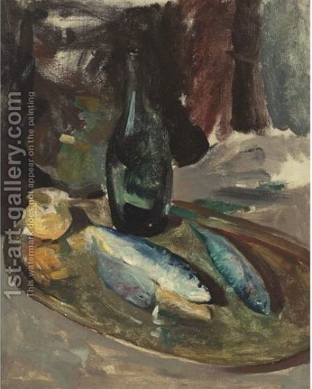 Still Life With Fish And Bottle by Charles Webster Hawthorne - Reproduction Oil Painting
