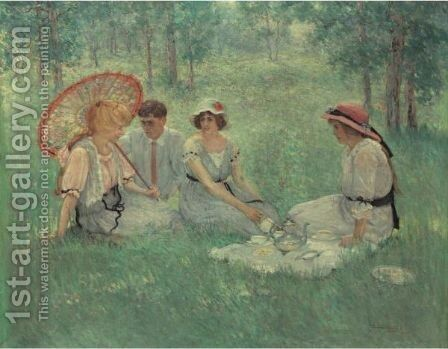 Tea On The Grass by Dawson Dawson-Watson - Reproduction Oil Painting
