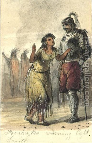Pocahontas Warning Captain John Smith by Alfred Jacob Miller - Reproduction Oil Painting
