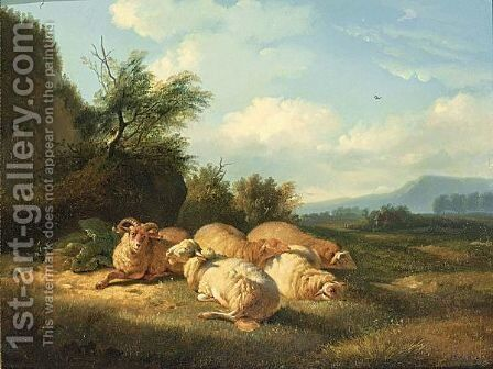 Sheep And A Ram Resting In A Landscape by (after) Balthasar Paul Ommeganck - Reproduction Oil Painting