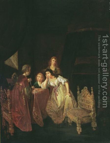An Interior With A Maid Showing Pearls To Ladies, Another Maid Beyond And A Bed In The Background by (after) Willem De Poorter - Reproduction Oil Painting