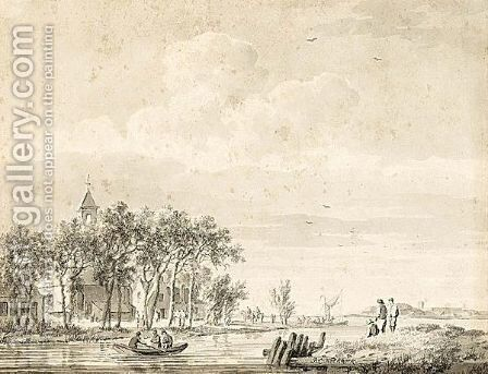 Landscape With Figures In A Boat by Barend Cornelis Koekkoek - Reproduction Oil Painting