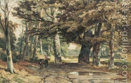 A Girl And A Donkey On A Country Lane by Jan Willem Van Borselen - Reproduction Oil Painting