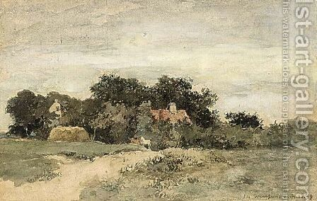 View Of A Landscape With Horses On A Path by Jan Hendrik Weissenbruch - Reproduction Oil Painting