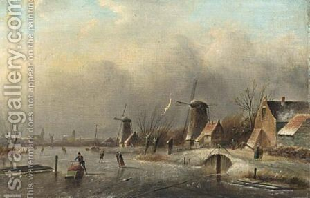 Winter Landscape With Several Skaters On A Frozen Waterway by Jan Jacob Coenraad Spohler - Reproduction Oil Painting