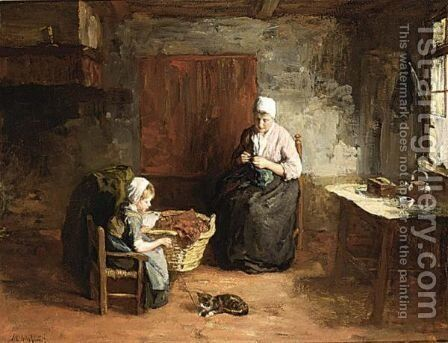 A Cottage Interior With Mother And Child by Albert Neuhuys - Reproduction Oil Painting