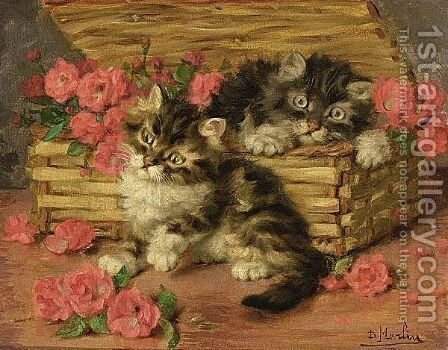 Playful Kittens 2 by Daniel Merlin - Reproduction Oil Painting
