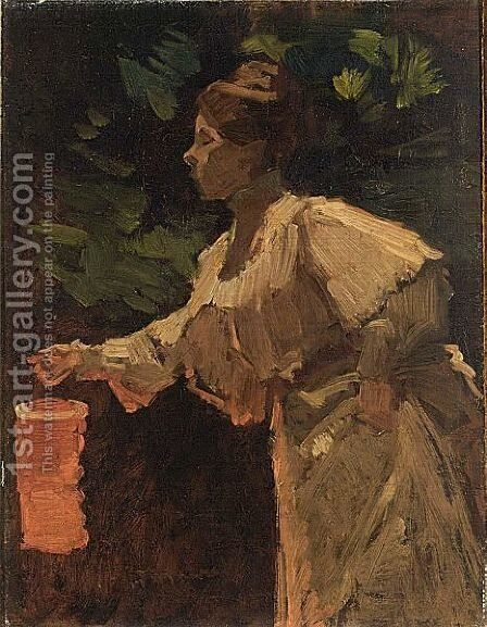 A Lady With A Chinese Lantern by Marinus Van Der Maarel - Reproduction Oil Painting