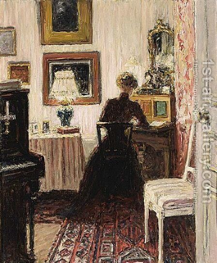 An Elegant Lady In A Parisian Interior by Carel Nicolaas Storm Van 's-Gravesande - Reproduction Oil Painting