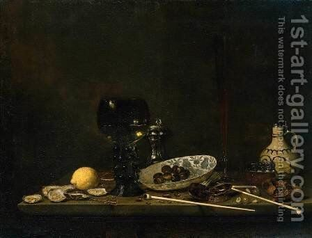 Still-Life with Romer, Flute Glass, Earthenware Jug and Pipes 1651 by Jan Jansz. Van De Velde - Reproduction Oil Painting