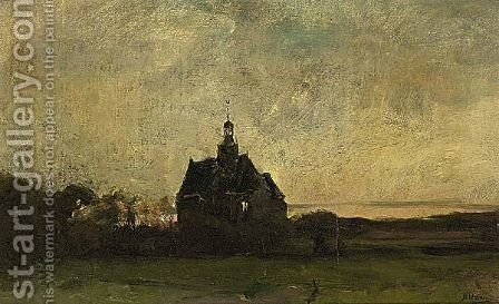 Church Of Egmond-Binnen Late Afternoon by Jan Hillebrand Wijsmuller - Reproduction Oil Painting