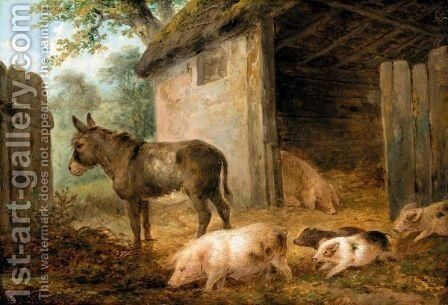 Pigs And A Donkey In A Farmyard by James Ward - Reproduction Oil Painting