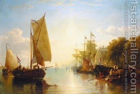 Dutch Barges Moored Beside De Boompjes, Rotterdam by (after) Sir Augustus Wall Callcott - Reproduction Oil Painting