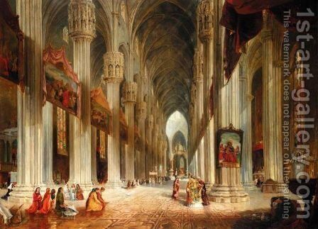 A Interior View Of Milan Cathedral by James Holland - Reproduction Oil Painting