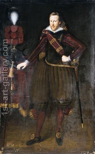 Portrait Of Captain Sir Michael Everid by (after) George Geldorp - Reproduction Oil Painting