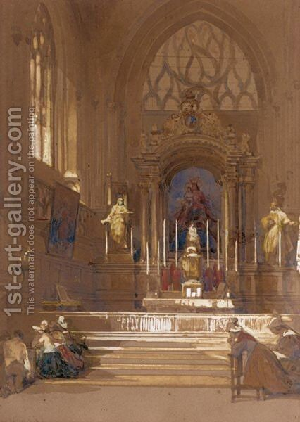 Figures Praying At The Altar Of A Church In Northern France by David Roberts - Reproduction Oil Painting