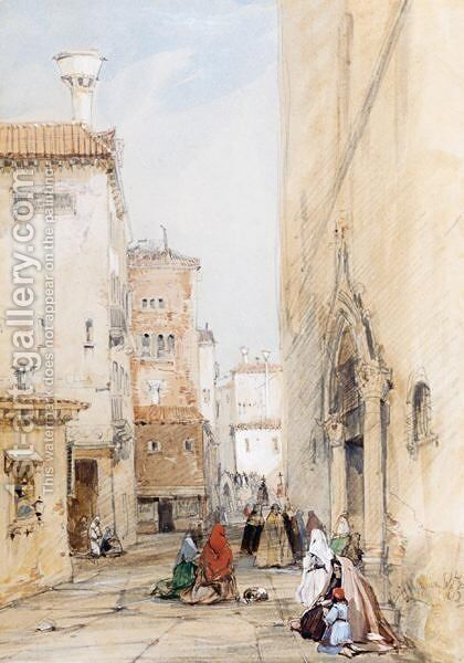 Figures On A Street In Venice by James Holland - Reproduction Oil Painting
