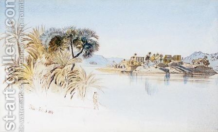 View Of Philae by Edward Lear - Reproduction Oil Painting