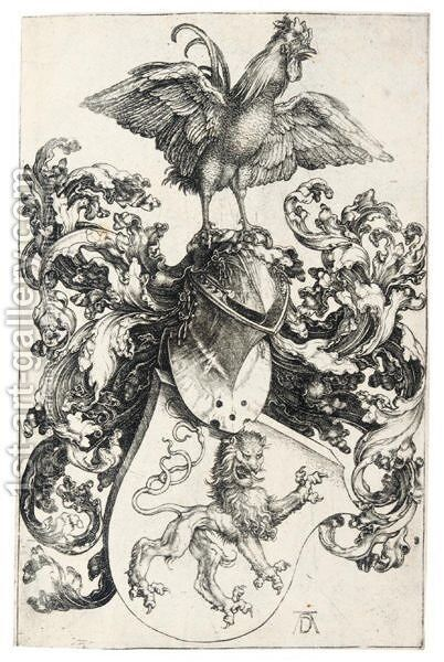 The Coat Of Arms With A Cock by Albrecht Durer - Reproduction Oil Painting