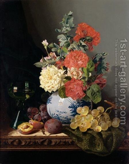 Still Life With A Vase Of Roses, Grapes, Plums And A Wine Glass On A Carved Table by Edward Ladell - Reproduction Oil Painting