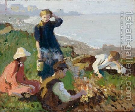 The Bonfire by Harvey Harold - Reproduction Oil Painting