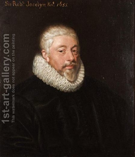 Portrait Of A Gentleman, Probably Sir Robert Jocelyn (1600-1664) Of Hyde Hall, Sawbridgeworth, Hertfordshire by (after) Johnson, Cornelius I - Reproduction Oil Painting