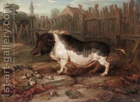 A Hog In A Yard by James Ward - Reproduction Oil Painting