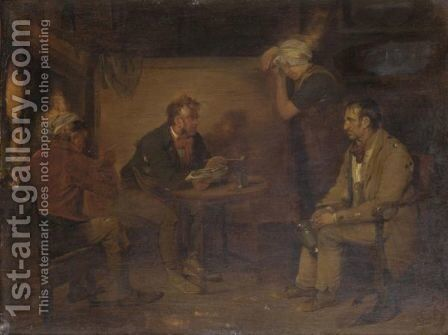 Figures In A Cottage Interior by Edward Bird - Reproduction Oil Painting