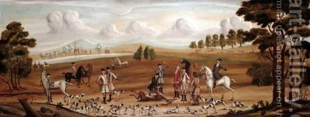After The Stag Hunt by English Provincial School - Reproduction Oil Painting