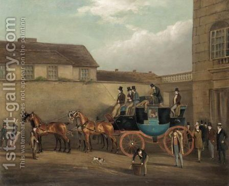 The Bedford To London Coach by (after) James Pollard - Reproduction Oil Painting
