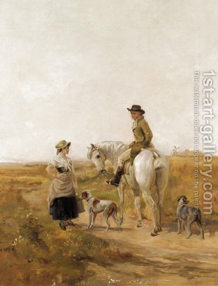 The Huntsman And The Miller's Daughter by Heywood Hardy - Reproduction Oil Painting