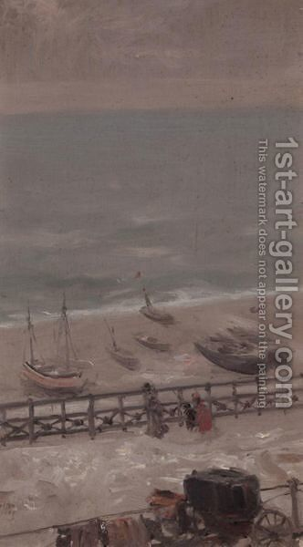 Snow At Brighton by (after) Albert Ludovici - Reproduction Oil Painting