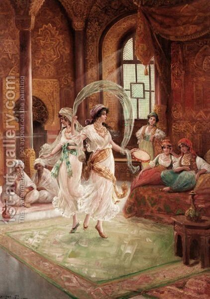 Harem Dancers by Continental School - Reproduction Oil Painting