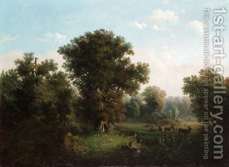 Deer In A Wooded Landscape by (after)  Frederik Kiaerskou - Reproduction Oil Painting