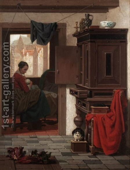 Mother And Baby In An Interior by Charles Joseph Grips - Reproduction Oil Painting