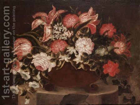 Still Life Of Flowers by (after) Jean-Baptiste Monnoyer - Reproduction Oil Painting
