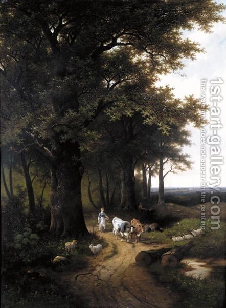 Livestock On A Country Track by Hendrik Pieter Koekkoek - Reproduction Oil Painting