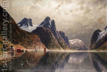 Sailing On The Fjord by Adelsteen Normann - Reproduction Oil Painting