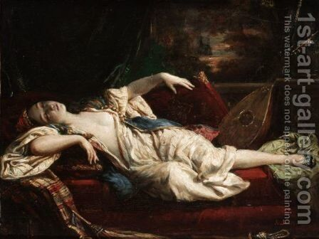 A Sleeping Lady by Alexandre-Marie Colin - Reproduction Oil Painting