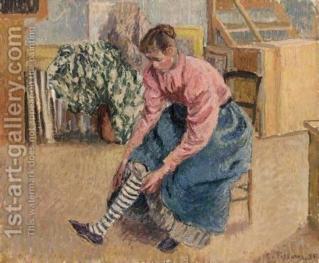 Femme Tirant Son Bas by Camille Pissarro - Reproduction Oil Painting