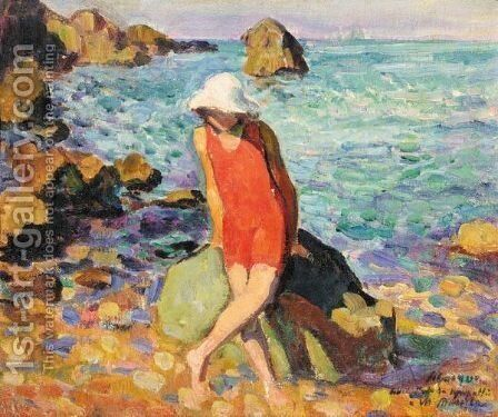Nono Au Bord De La Mer by Henri Lebasque - Reproduction Oil Painting