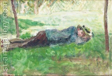 Jeune Paysan Couche Dans L'Herbe by Camille Pissarro - Reproduction Oil Painting