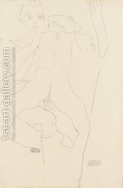 Liebespaar (Lovers) 2 by Egon Schiele - Reproduction Oil Painting