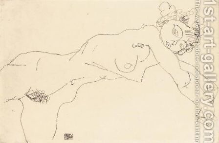 Liegende (Reclining Nude) by Egon Schiele - Reproduction Oil Painting