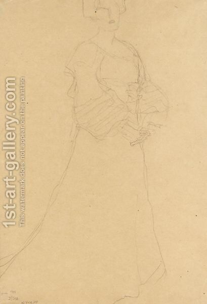Stehende Dame Nach Rechts (Standing Lady Turned To The Right) by Gustav Klimt - Reproduction Oil Painting