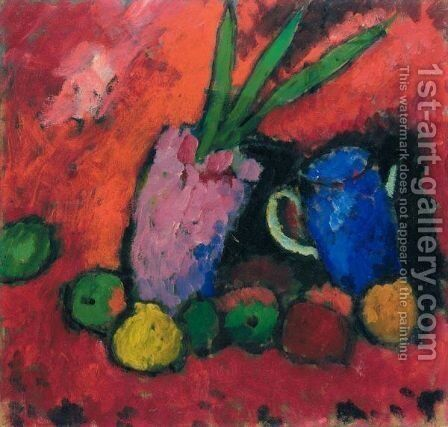 Stilleben Mit Hyazinthe, Blauem Krug Und Apfeln (Still-Life With Hyacinth, Blue Jug And Apples) by Alexei Jawlensky - Reproduction Oil Painting