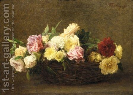 Roses Dans Un Panier En Osier by Ignace Henri Jean Fantin-Latour - Reproduction Oil Painting