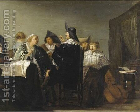 Elegant Figures In An Interior by (after) Pieter Codde - Reproduction Oil Painting