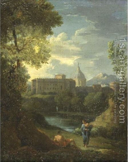 Landscape With Figures Resting By A Lake, A Town Beyond by (after) Jan Frans Van Orizzonte (see Bloemen) - Reproduction Oil Painting